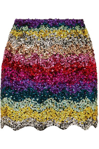 Ashish - Scalloped Sequined Cotton Mini Skirt - Pink