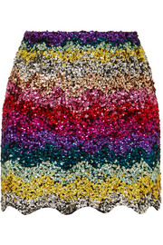 Scalloped sequined cotton mini skirt