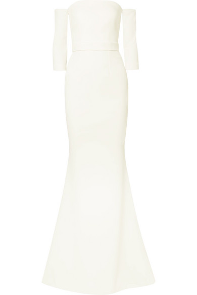 SAFIYAA Celiana Off-The-Shoulder Stretch-Crepe Gown in Ivory