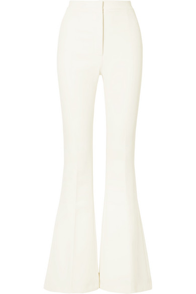 SAFIYAA Halluana Stretch-Cady Flared Pants in Ivory
