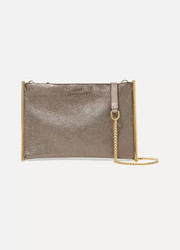 Roy small metallic textured-leather shoulder bag