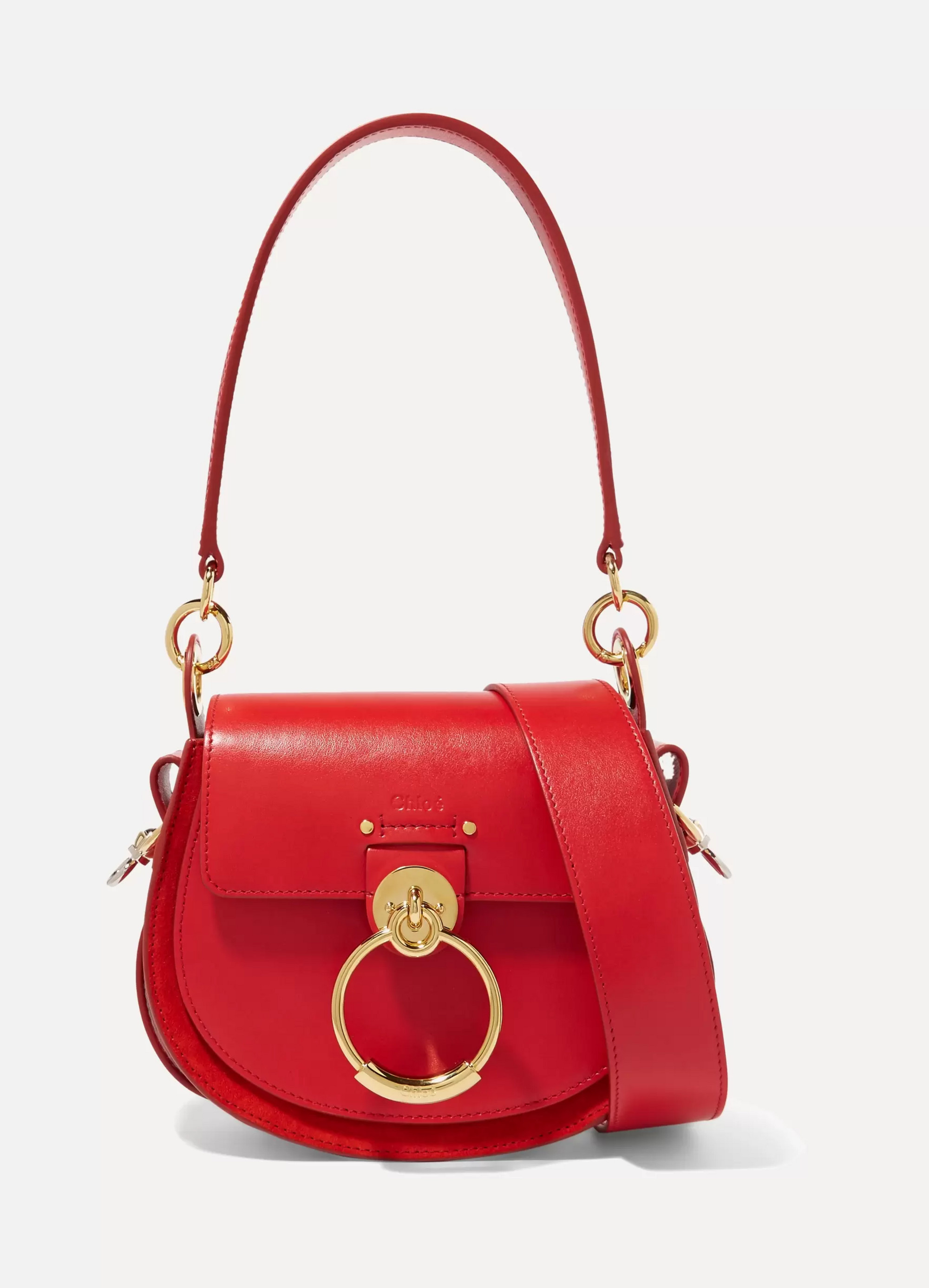 Chloé Tess small leather and suede shoulder bag