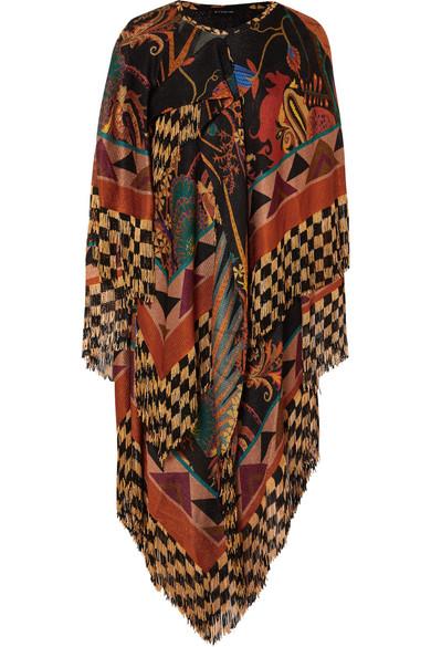 ETRO Asymmetric fringed jacquard midi dress