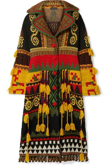 Etro - Tasseled Intarsia Wool-blend Coat - Brown