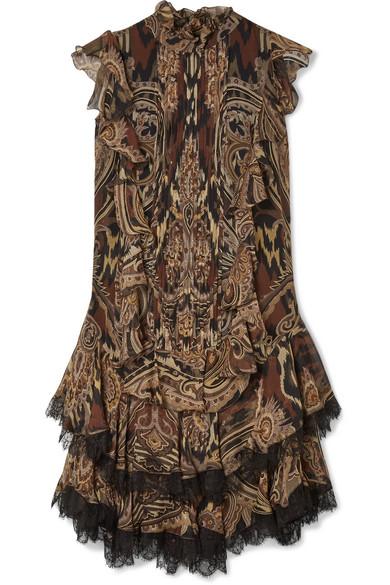 ETRO Lace-trimmed printed silk-crepe mini dress