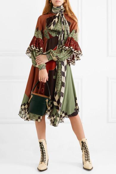 wholesale dealer 47ee5 9ff03 Asymmetric printed silk-georgette midi dress