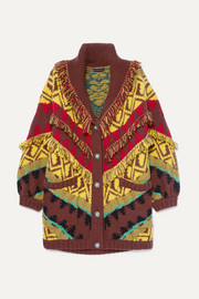 Etro Oversized fringed wool-blend cardigan