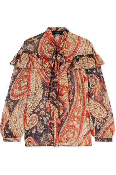 ETRO Ruffled printed fil coupé silk-blend chiffon blouse