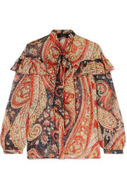 Etro Ruffled printed fil coupé silk-blend chiffon blouse