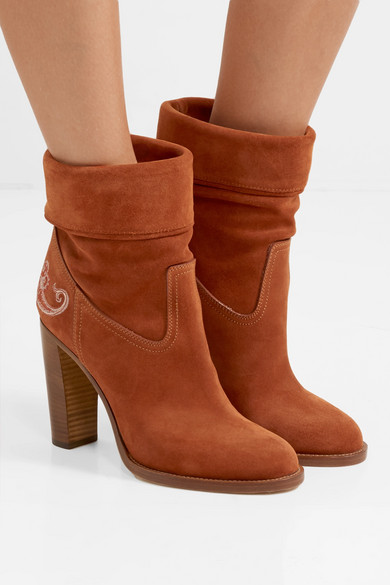 Embroidered Suede Ankle Boots by Etro