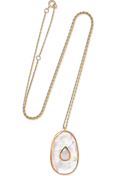 PASCALE MONVOISIN SIMONE 9-KARAT ROSE AND YELLOW GOLD, MOONSTONE AND OPAL NECKLACE