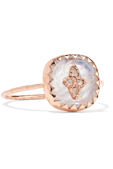 PASCALE MONVOISIN PIERROT 9-KARAT ROSE GOLD, MOONSTONE AND DIAMOND RING
