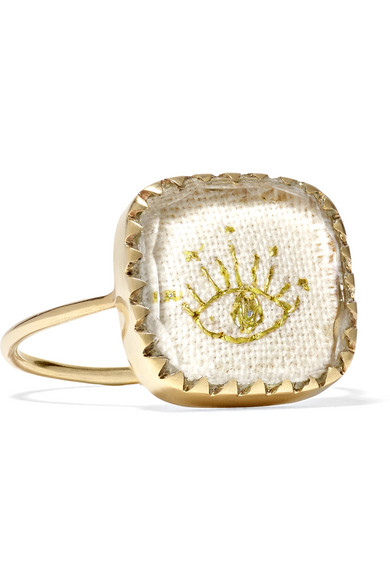 PASCALE MONVOISIN BLOSSOM N°2 9-KARAT GOLD, COTTON AND GLASS RING