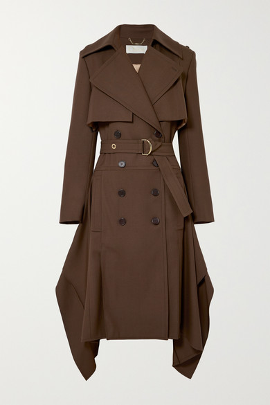 3a25eeed90 Wool Asymmetric Trench Coat - Dk. Brown Size 44 Fr