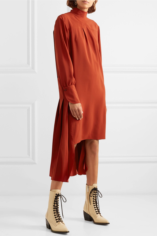 Chloé Asymmetric pleated silk crepe de chine dress