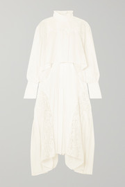 Chloé Asymmetric lace-paneled crepe midi dress