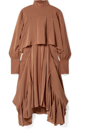 Asymmetric pleated silk crepe de chine turtleneck dress