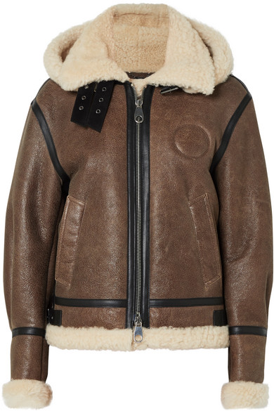 Hooded Shearling And Leather Aviator Jacket, Brown