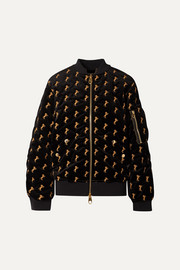 Embroidered cotton-blend velvet bomber jacket