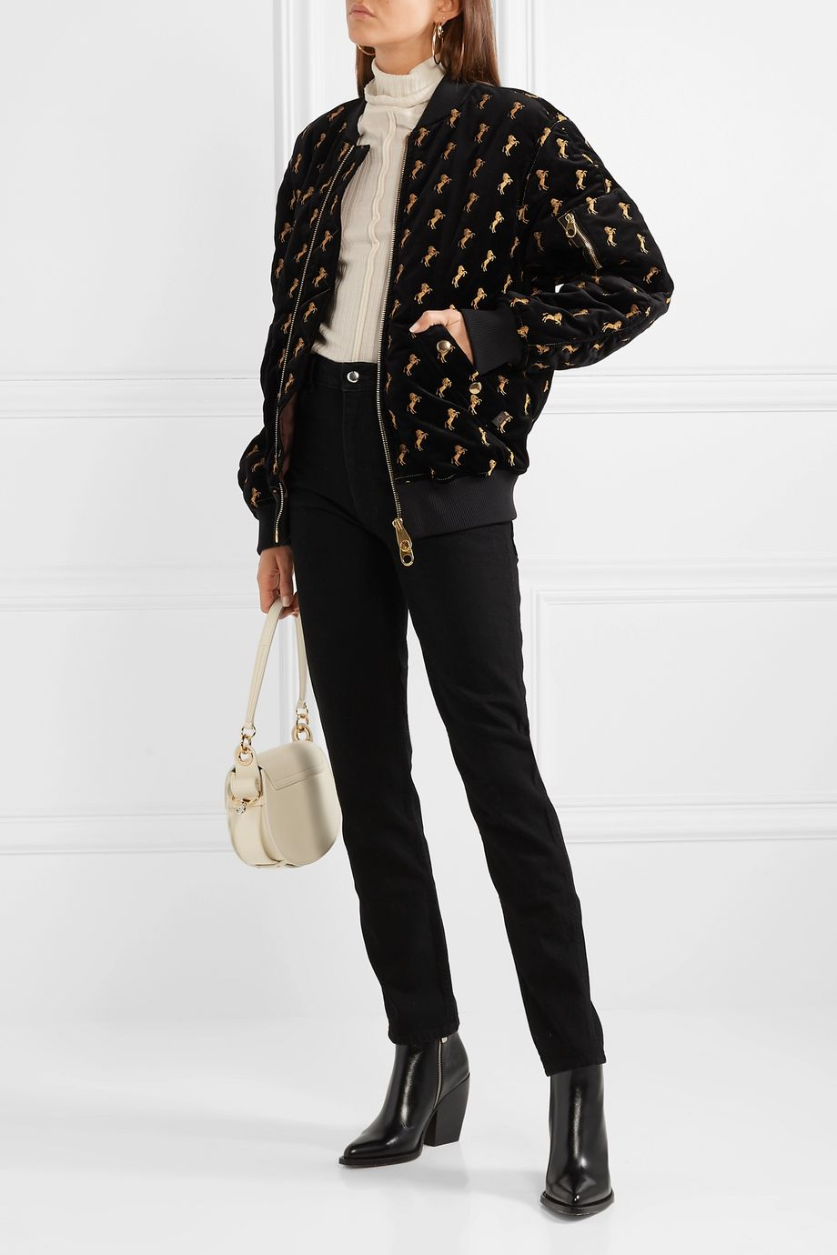 Chloé Embroidered cotton-blend velvet bomber jacket