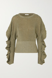 Chloé Ruffled metallic ribbed stretch silk-blend sweater