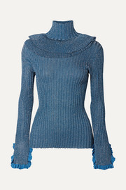 Chloé Ruffled metallic ribbed-knit silk-blend turtleneck sweater