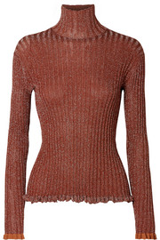 Chloé Ribbed silk-blend Lurex turtleneck sweater