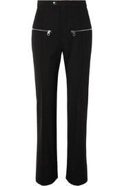 Zip-detailed wool-blend straight-leg pants