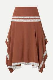 Chloé Asymmetric lace-trimmed silk-satin skirt