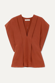 Chloé Draped silk crepe de chine blouse