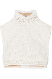 Cropped silk-trimmed cotton-blend lace top