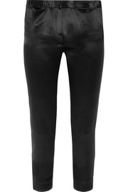 Cropped satin slim-leg pants