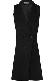 Open-back herringbone wool-blend and satin-twill vest