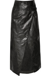 Leather wrap midi skirt