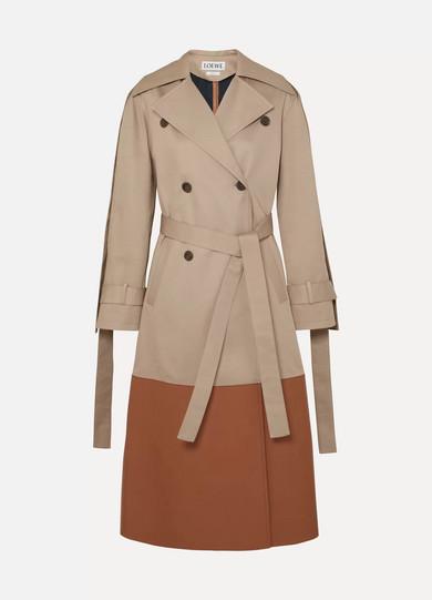 Leather-Paneled Cotton-Gabardine Trench Coat, Beige