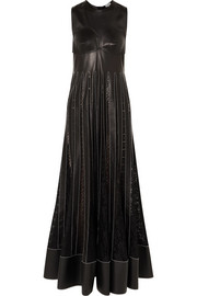 Loewe Pleated lace-trimmed leather maxi dress
