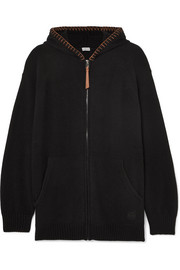 Loewe Oversized leather-trimmed knitted cashmere hoodie