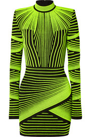 Balmain Neon ribbed stretch-knit mini dress