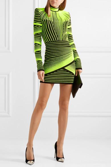 f08fadfe Balmain   Neon ribbed stretch-knit mini dress   NET-A-PORTER.COM