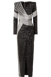 Balmain Wrap-effect embellished stretch-satin gown