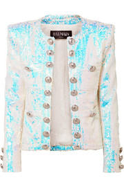 Button-embellished sequined twill blazer
