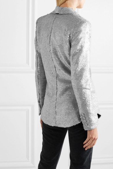 Balmain Blazers Double-breasted matte sequined crepe blazer