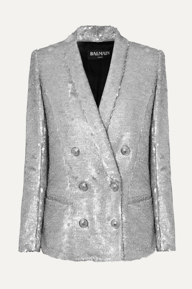 83007ae1 Balmain | Double-breasted matte sequined crepe blazer | NET-A-PORTER.COM