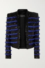 Balmain Cropped fringed sequined tweed jacket