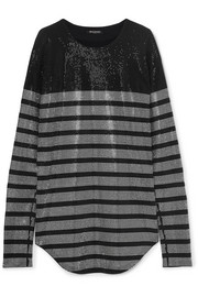 Balmain Crystal-embellished striped stretch-jersey top