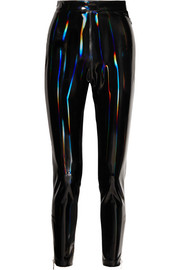 Holographic stretch-vinyl leggings