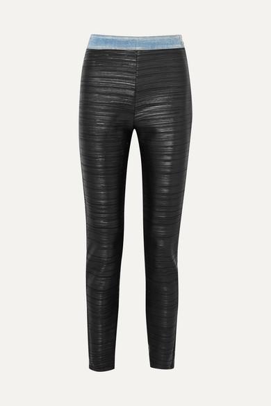c70fbc9002796f Balmain | Pleated faux-leather and denim leggings | NET-A-PORTER.COM