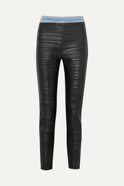 Pleated faux-leather and denim leggings