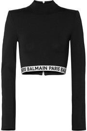 Balmain Cropped intarsia-trimmed stretch-jersey top