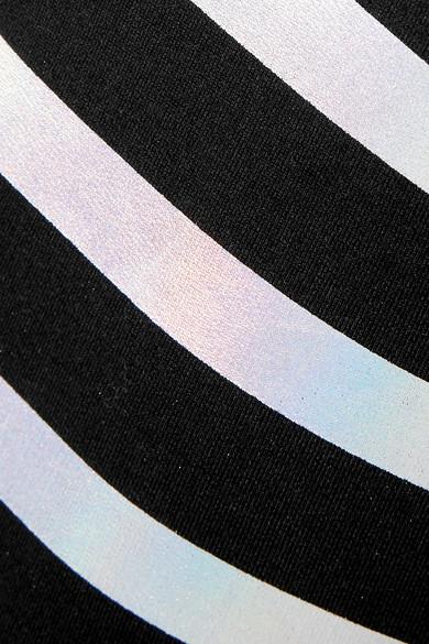 Balmain Suits Striped iridescent cotton-jersey bodysuit